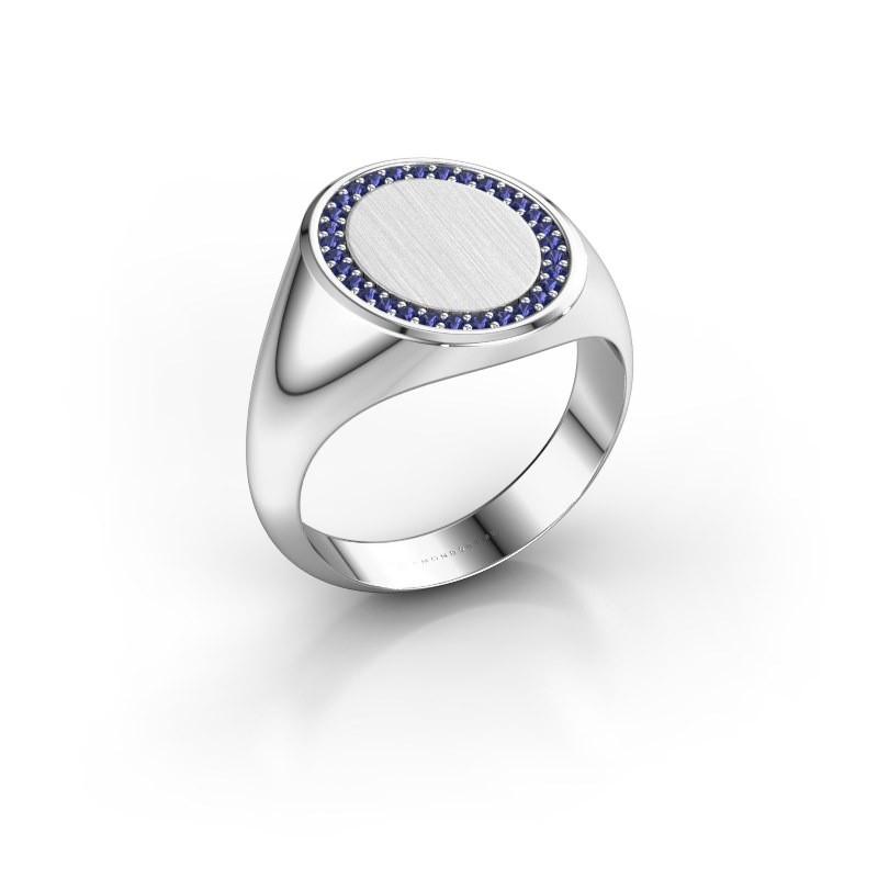 Men's ring Floris Oval 4 375 white gold sapphire 1.2 mm