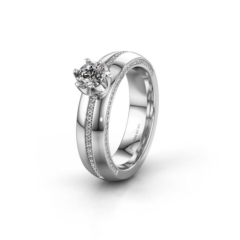 Huwelijksring WH0416L25E 585 witgoud zirkonia ±5x2.6 mm