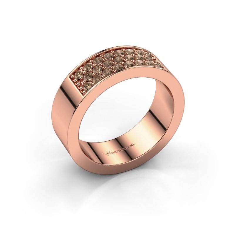 Ring Lindsey 5 375 rosé goud bruine diamant 0.46 crt