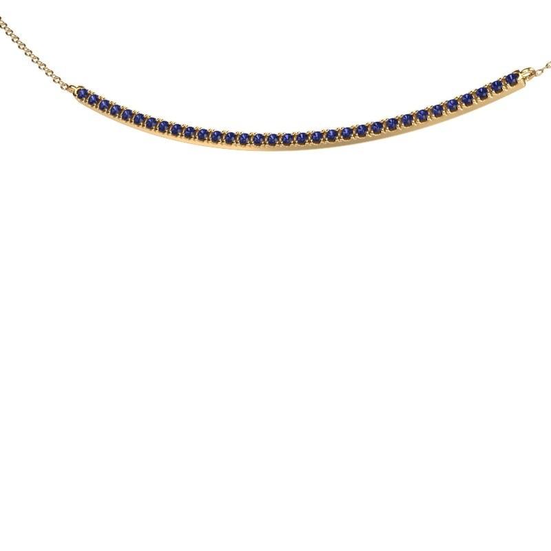 Bar ketting Simona 375 goud saffier 1.5 mm