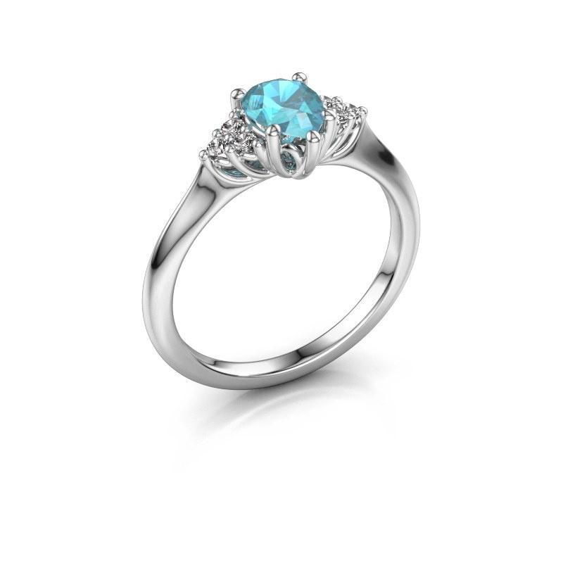 Verlovingsring Felipa per 585 witgoud blauw topaas 7x5 mm