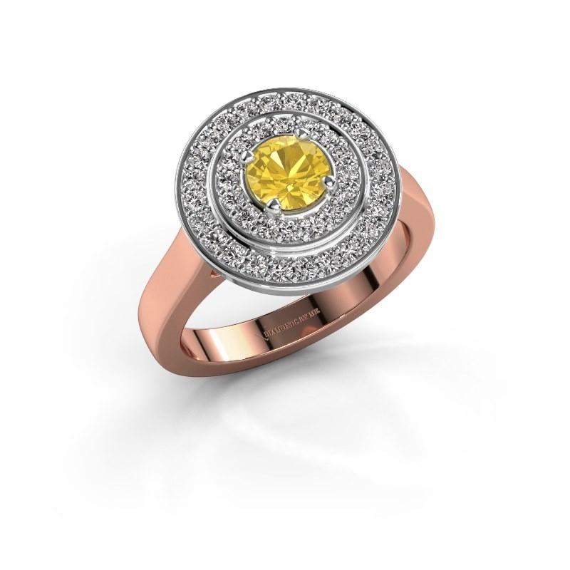 Ring Alecia 1 585 rosé goud gele saffier 5 mm