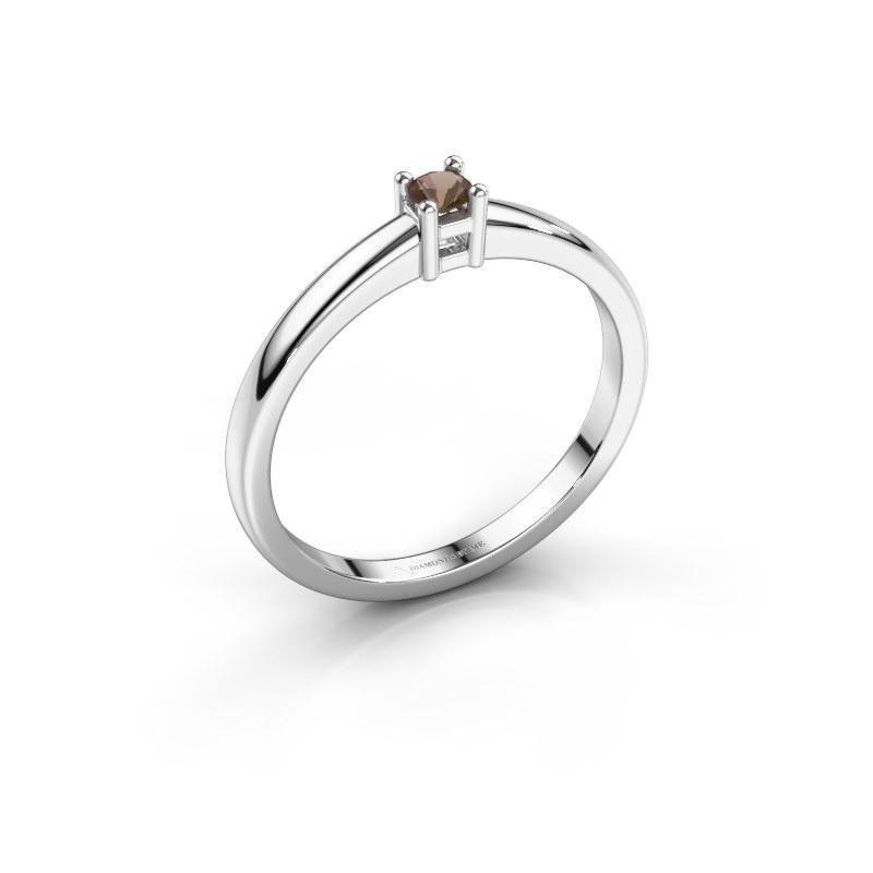 Promise ring Eline 1 925 zilver rookkwarts 3 mm
