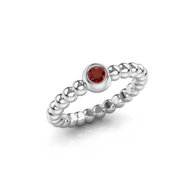 Stackable ring Dini 925 silver garnet 3 mm