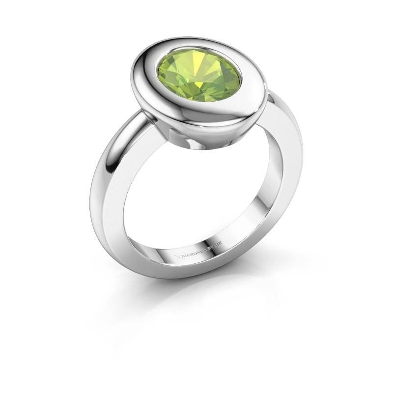 Ring Selene 1 950 platina peridoot 9x7 mm