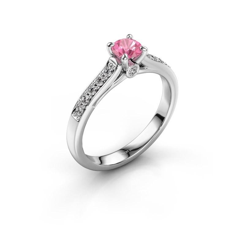 Verlovingsring Valorie 2 950 platina roze saffier 4.7 mm