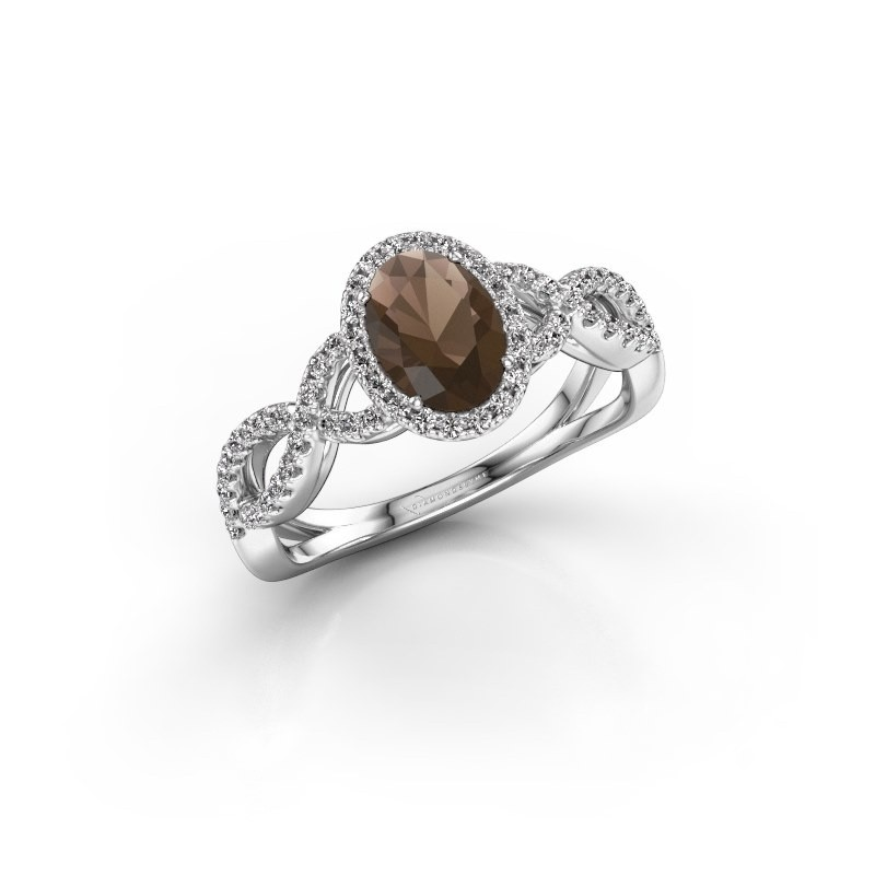 Engagement ring Dionne ovl 950 platinum smokey quartz 7x5 mm