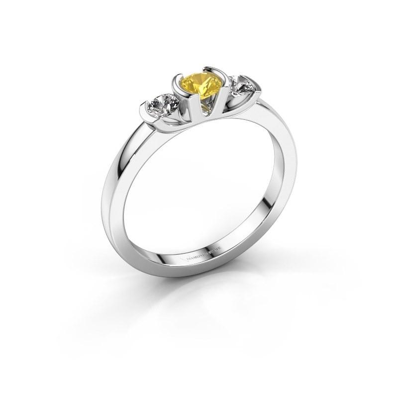 Bague Lucia 585 or blanc saphir jaune 3.7 mm
