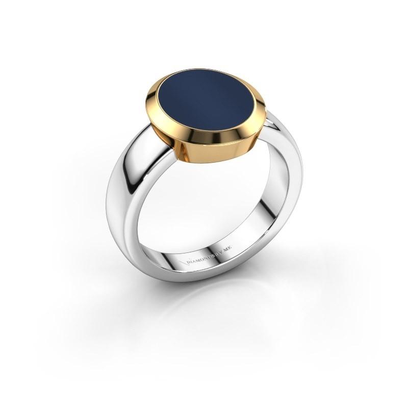 Zegelring Oscar 3 585 witgoud donker blauw lagensteen 12x10 mm