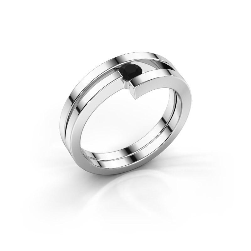 Ring Nikia 925 zilver zwarte diamant 0.18 crt