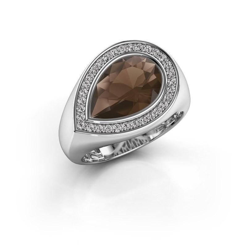 Ring Latashia 375 witgoud rookkwarts 12x8 mm