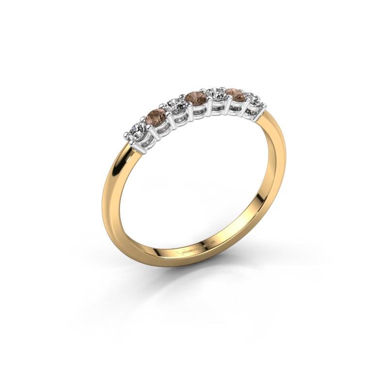 Verlovings ring Michelle 7 585 goud bruine diamant 0.21 crt