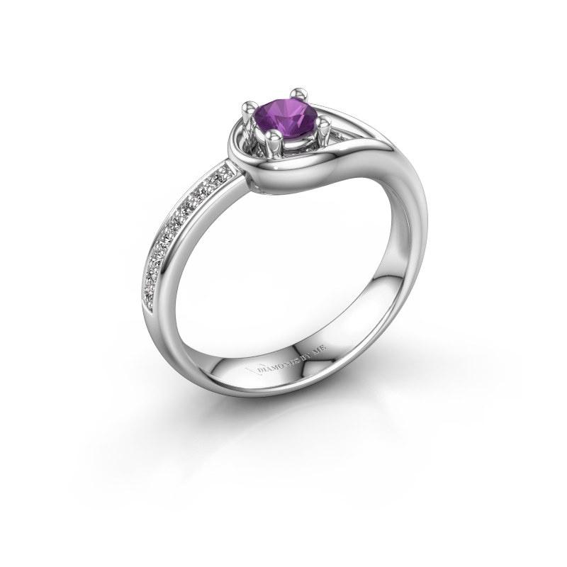 Ring Zara 585 witgoud amethist 4 mm