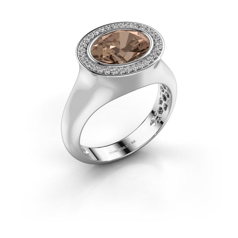 Bague Phebe 375 or blanc diamant brun 2.86 crt