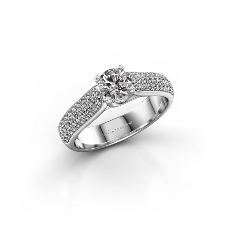Verlovingsring Leoness 585 witgoud diamant 0.915 crt