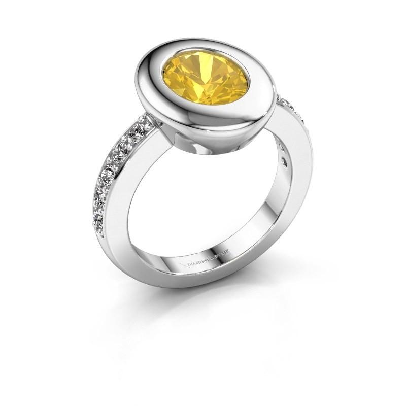 Ring Selene 2 585 white gold yellow sapphire 9x7 mm
