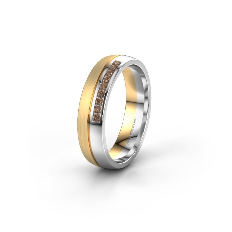 Wedding ring WH0209L25APM 585 gold brown diamond ±0.20x0.07 in