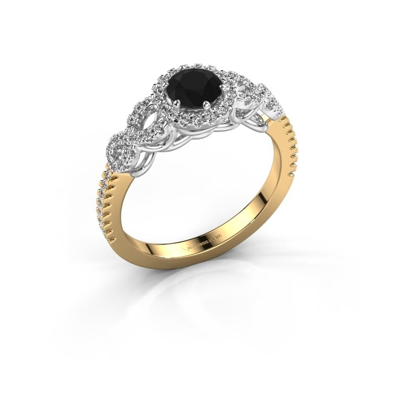 Verlovingsring Sasja 585 goud zwarte diamant 0.925 crt