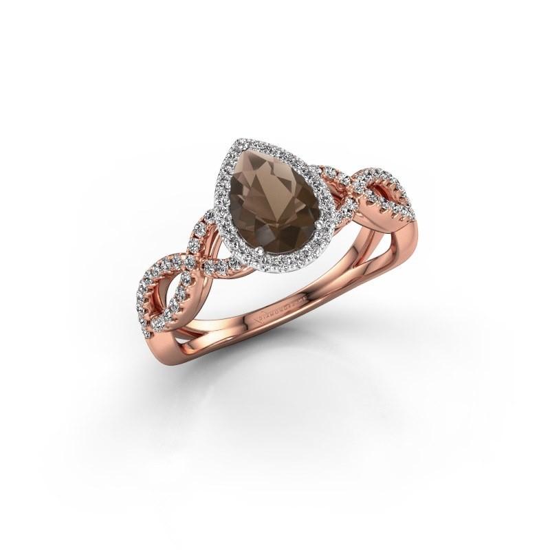 Engagement ring Dionne pear 585 rose gold smokey quartz 7x5 mm