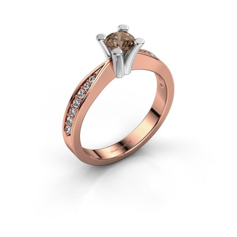 Promise ring Ichelle 2 585 rosé goud bruine diamant 0.578 crt