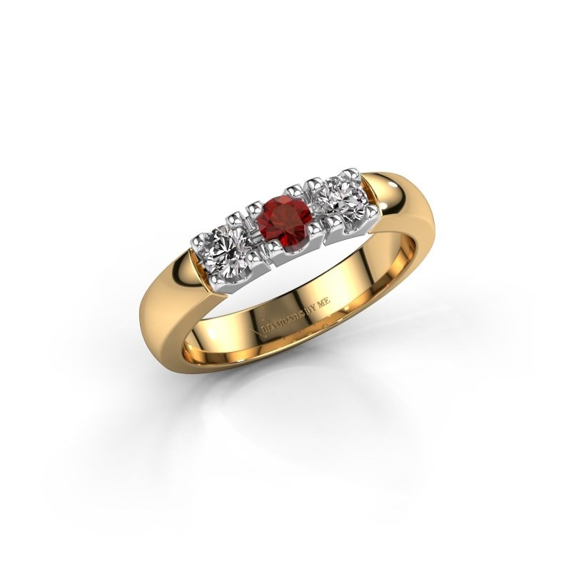 Engagement ring Rianne 3 585 gold garnet 3.4 mm