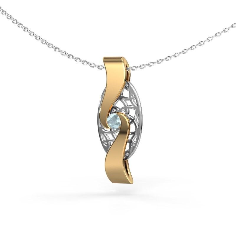 Hanger Darleen 585 goud aquamarijn 3 mm