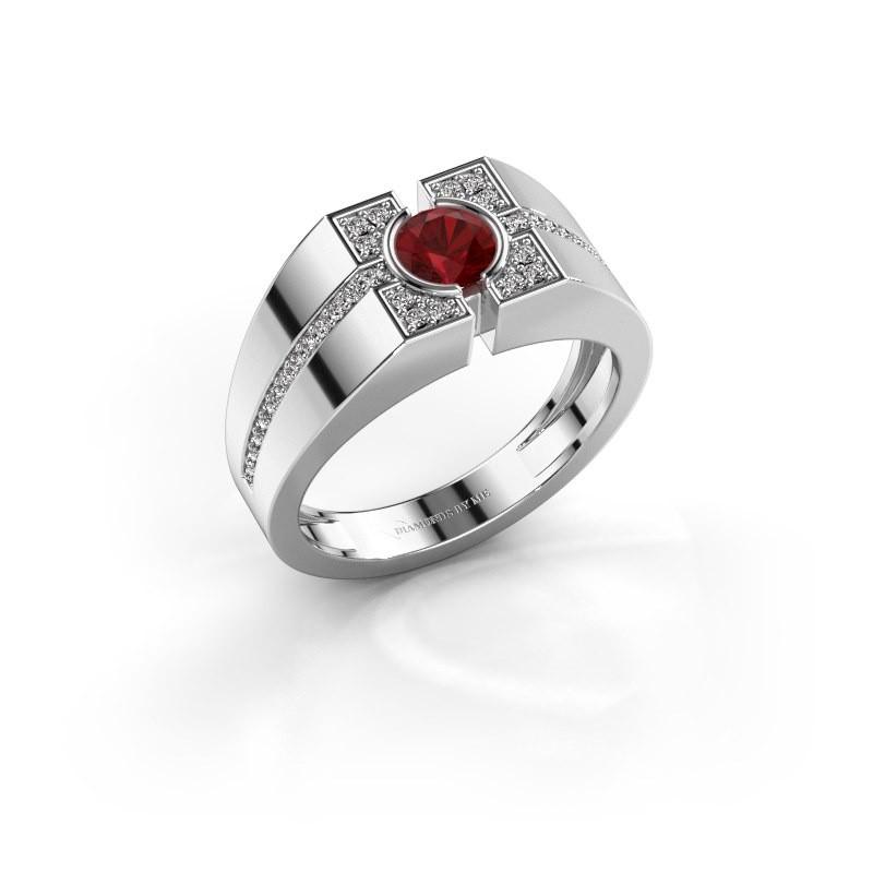 Men's ring Thijmen 375 white gold ruby 5 mm