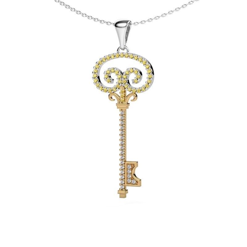 Halskette Key 1 585 Gold Gelb Saphir 1 mm