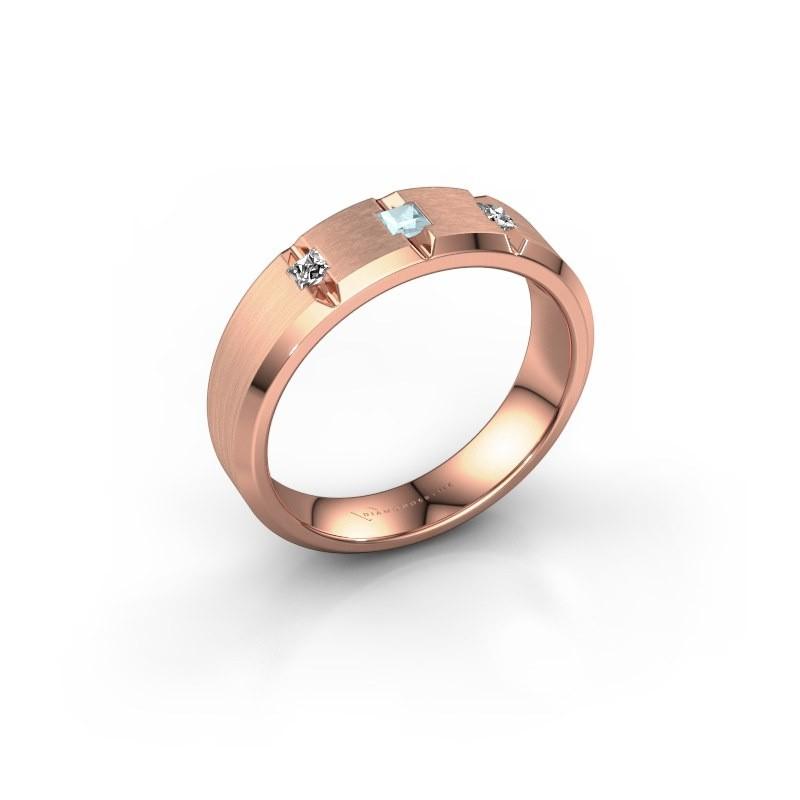 Mannen ring Justin 375 rosé goud aquamarijn 2.5 mm