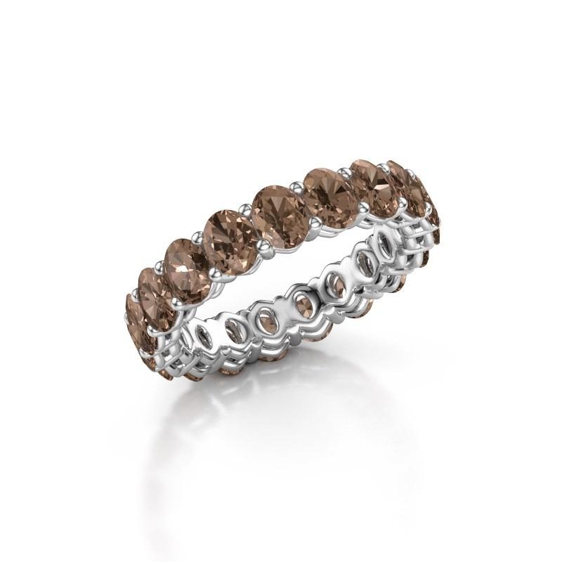 Aanschuifring Heddy OVL 3.5x4.5 585 witgoud bruine diamant 3.990 crt
