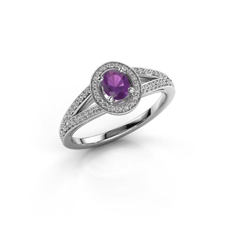 Verlovings ring Angelita OVL 585 witgoud amethist 6x4 mm