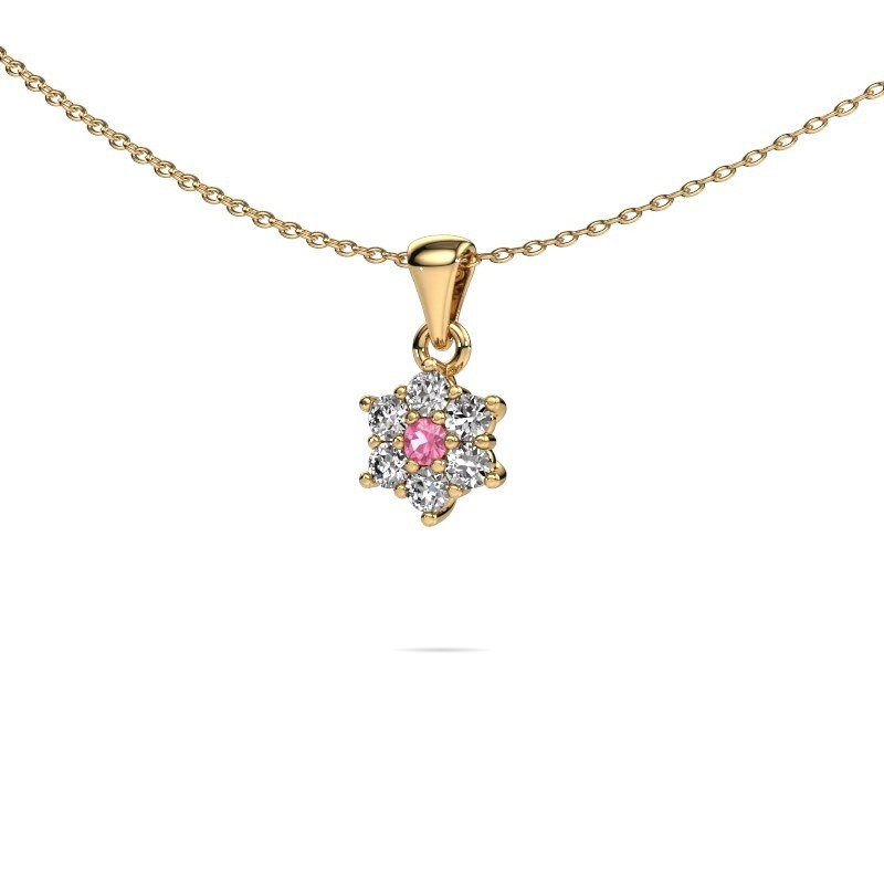 Ketting Chantal 375 goud roze saffier 2.4 mm