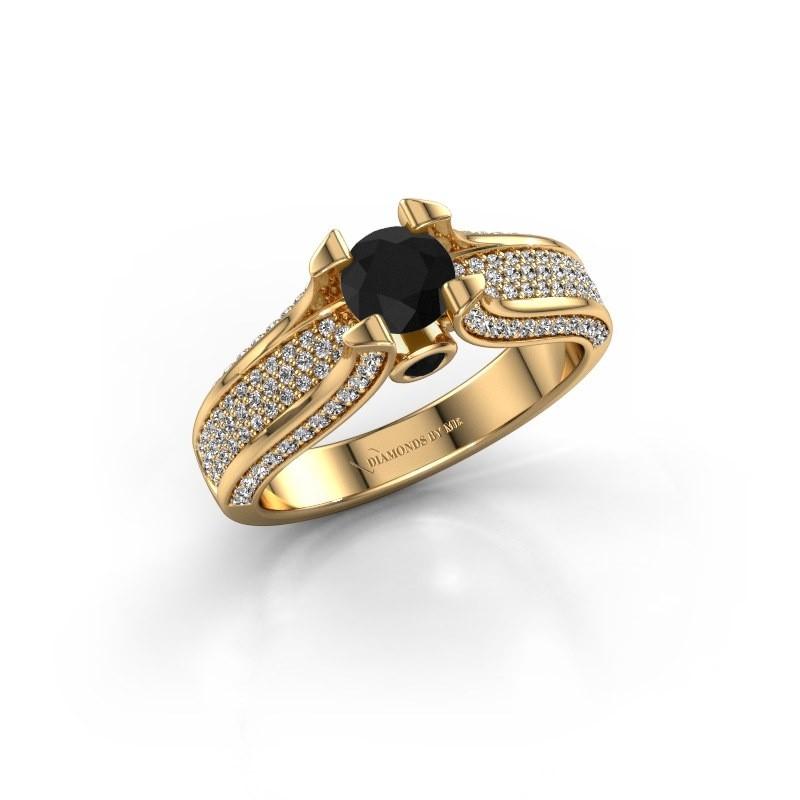 Verlovingsring Jeanne 2 375 goud zwarte diamant 1.138 crt