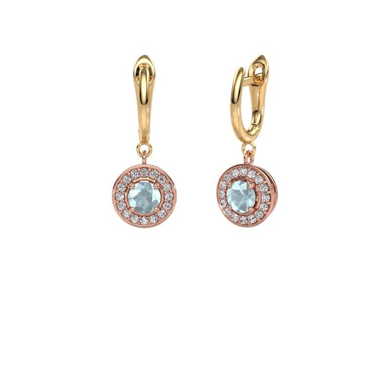 Oorhangers Ninette 1 585 rosé goud aquamarijn 5 mm
