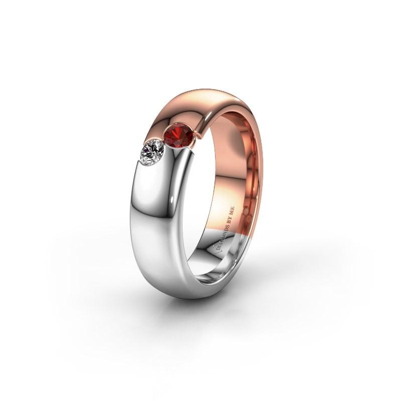 Wedding ring WH1003L26C 585 rose gold garnet ±6x2.2 mm