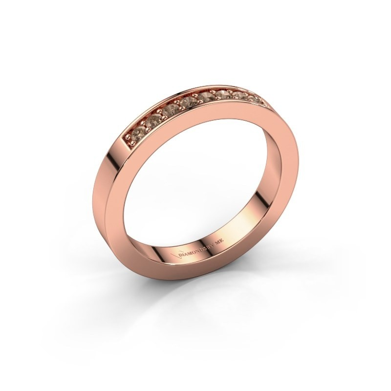 Stackable ring Loes 5 375 rose gold brown diamond 0.16 crt