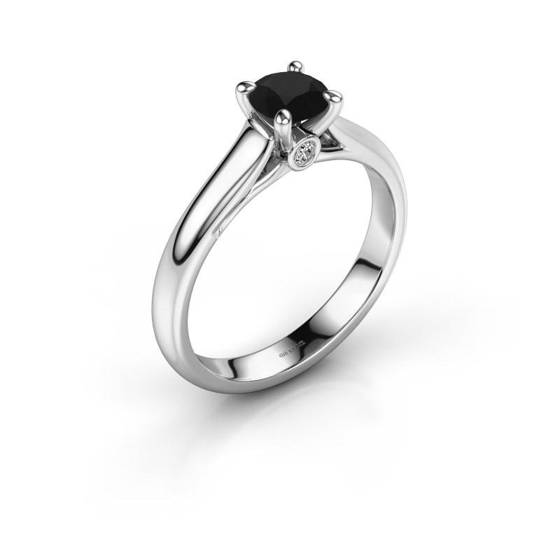 Verlovingsring Valorie 1 585 witgoud zwarte diamant 0.60 crt