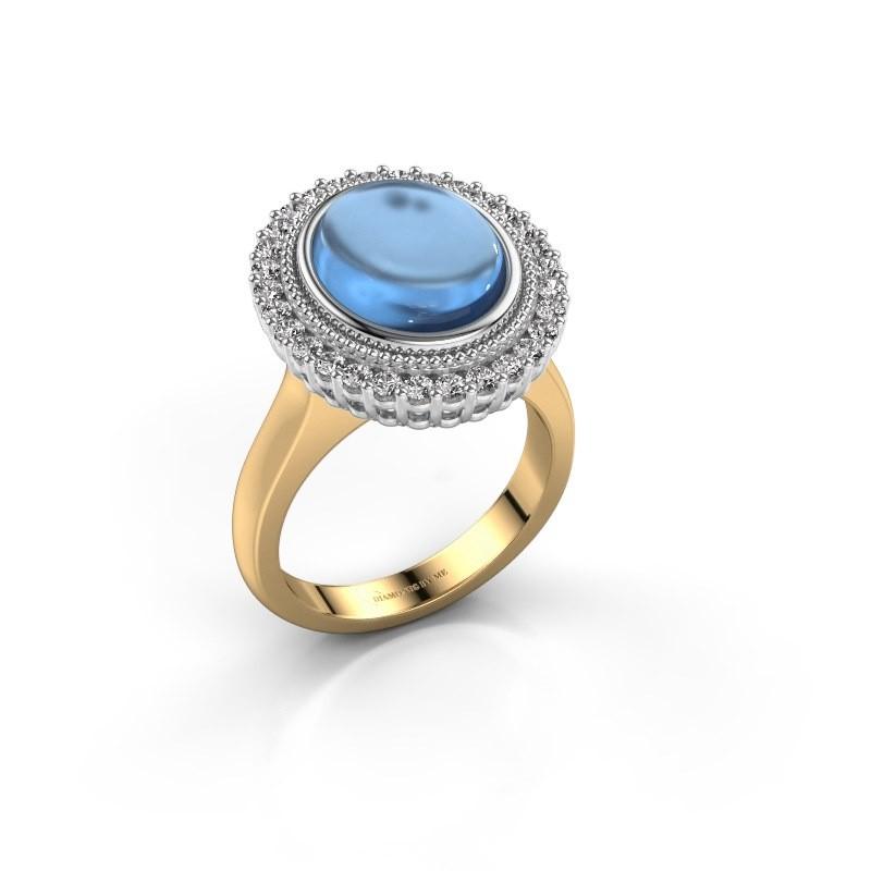 Ring Mila 585 goud blauw topaas 12x10 mm