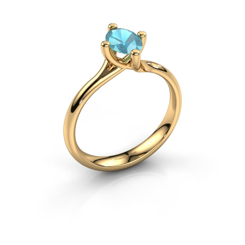 Engagement ring Dewi Oval 585 gold blue topaz 7x5 mm
