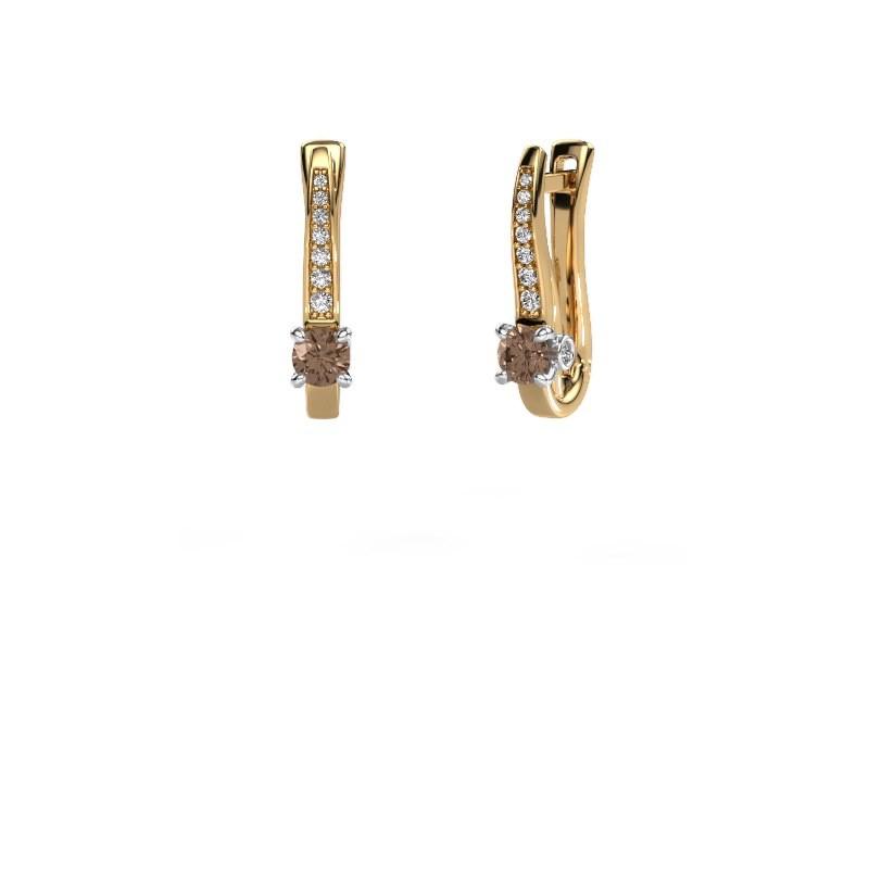 Oorbellen Valorie 585 goud bruine diamant 0.68 crt