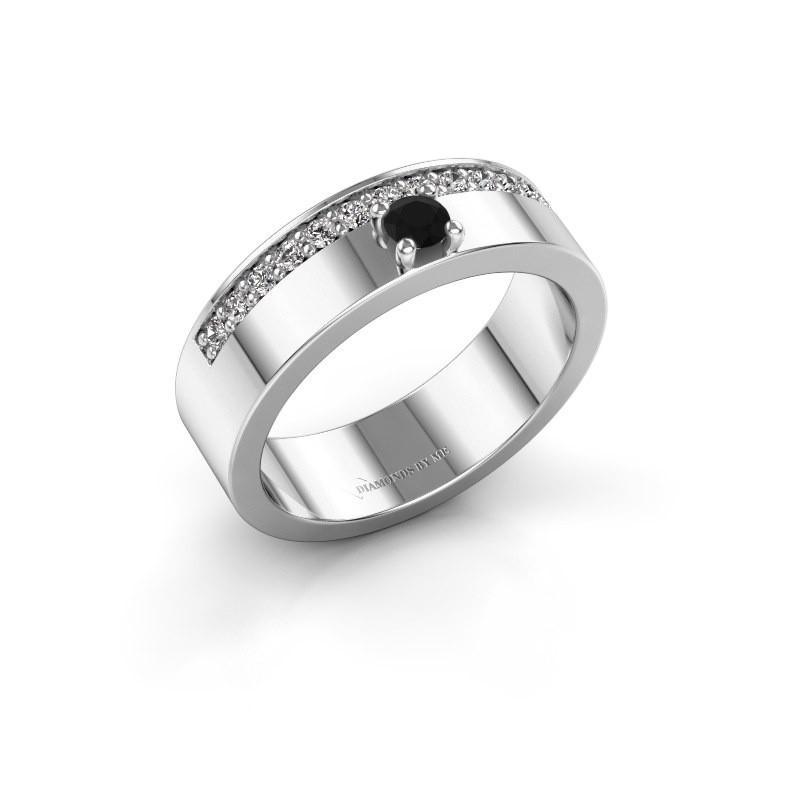 Ring Vicki 925 zilver zwarte diamant 0.315 crt