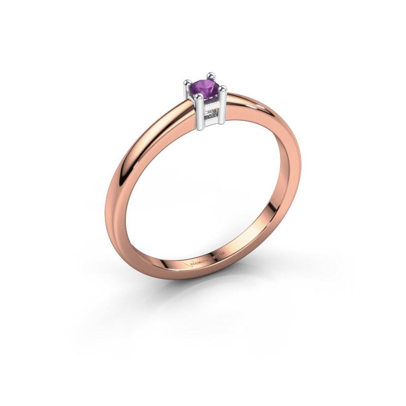 Promise ring Eline 1 585 rosé goud amethist 3 mm