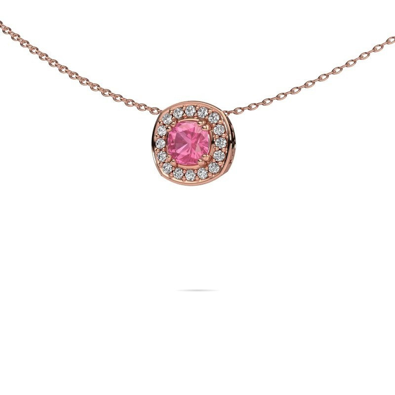 Ketting Carolina 375 rosé goud roze saffier 5 mm