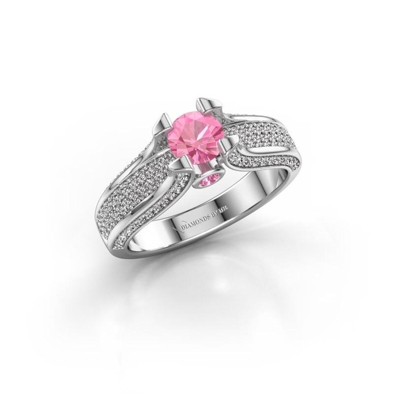 Verlovingsring Jeanne 2 585 witgoud roze saffier 5 mm