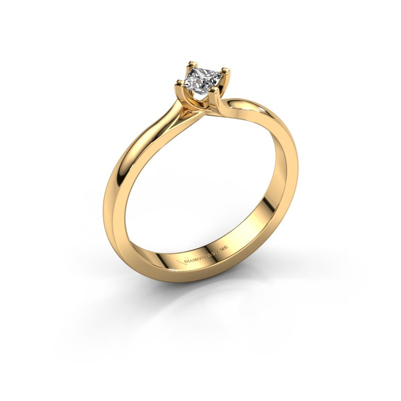 Engagement ring Dewi Square 585 gold diamond 0.17 crt