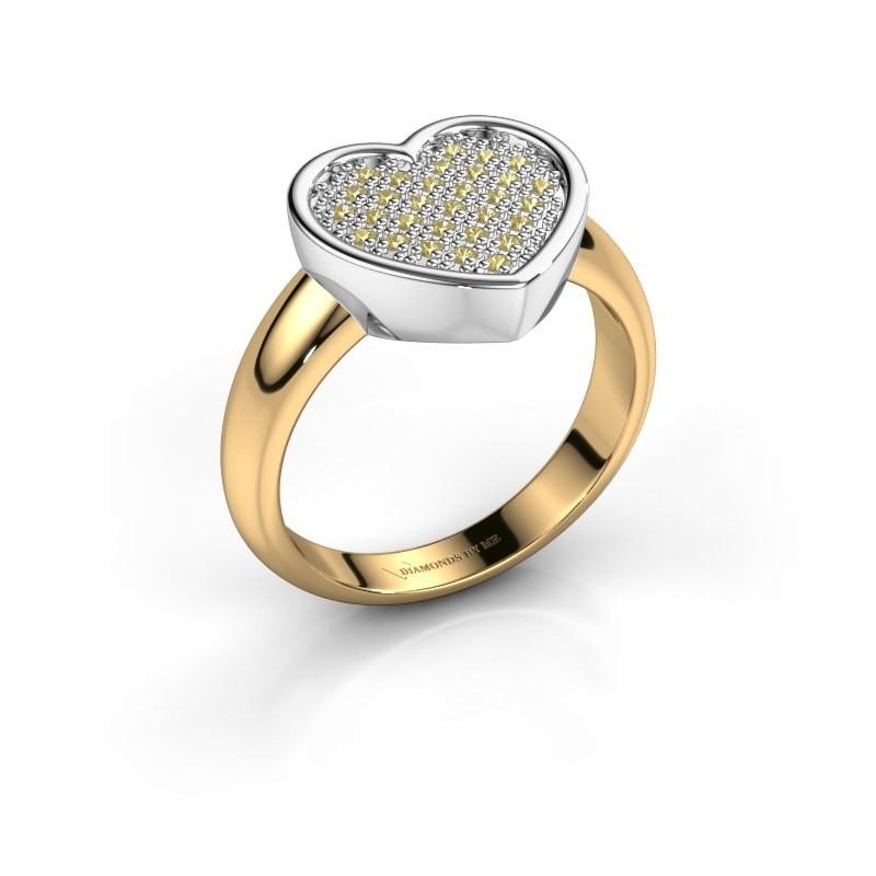 Ring Veerle 585 goud gele saffier 1 mm