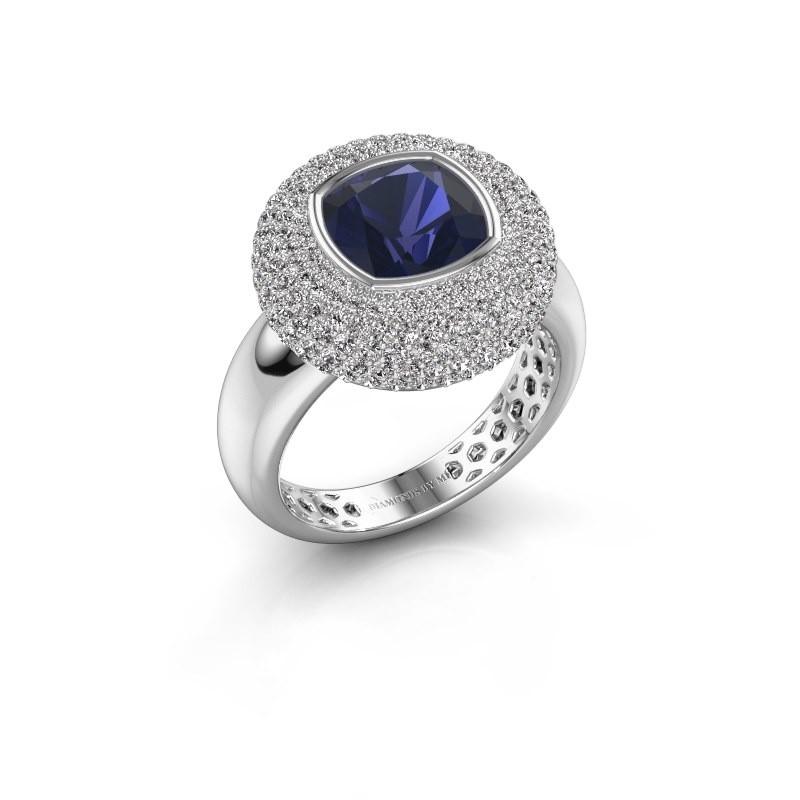 Ring Keshia 925 zilver saffier 8 mm