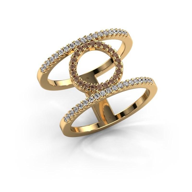 Ring Latoria 2 375 goud bruine diamant 0.402 crt