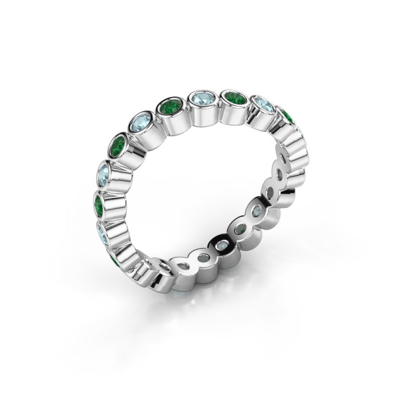 Ring Liz 585 witgoud smaragd 2 mm