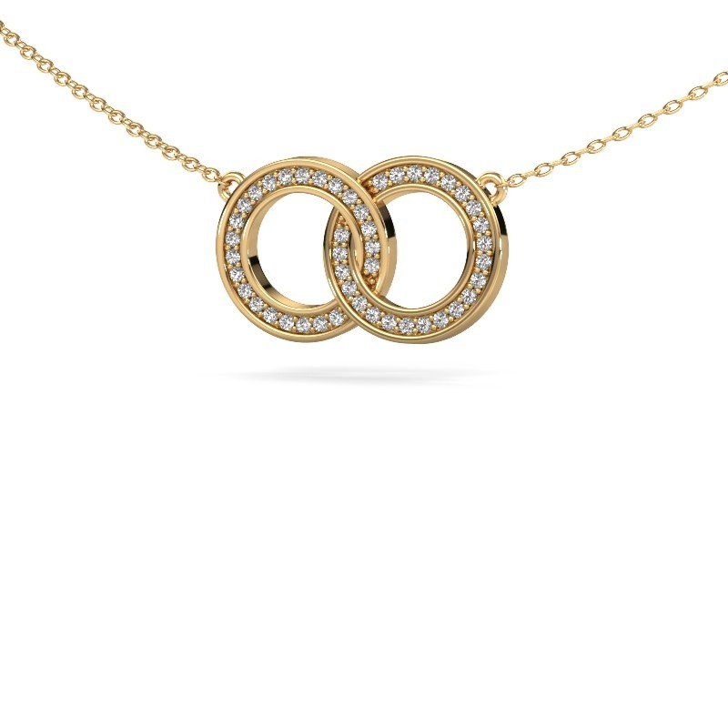 Collier Circles 1 375 or jaune diamant synthétique 0.23 crt